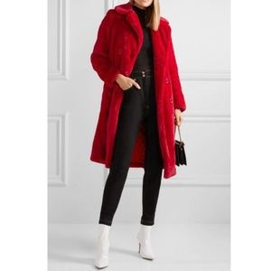 Alice and oliva red faux fur jacket